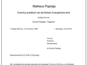 Berita duka Emeritus Pendeta Geredja Indjili Maluku Matheus Papilaja