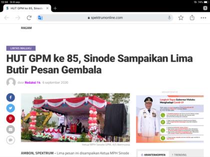 Hari Ulang Tahun Geredja Protestan Maluku (GPM) ke 85 – Ambon
