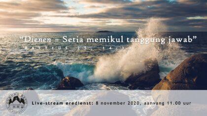 Live uitzending Eredienst 08-11-2020 Voorganger Nj. L. Huijzer-Wattimury