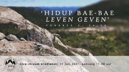 Live Stream Eredienst 11-07-2021 om 11.00 uur Pdt. E.S. Patty