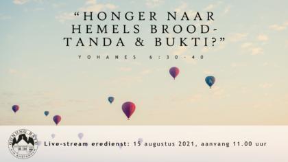 Live Stream Eredienst 15-08-2021 om 11.00 uur Pdt. E.S. Patty